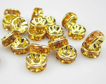 20 Spacer Beads, Topaz Rhinestone Gold Plated 8 mm Ships From The United States - sp041