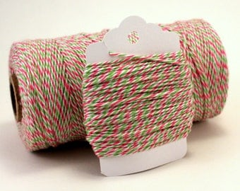 Bakers Twine - Watermelon Twine - BBQ Twine - Pink and Green Twine - Watermelon Divine Twine - Pink & Green Cotton String - Summer Gift Wrap