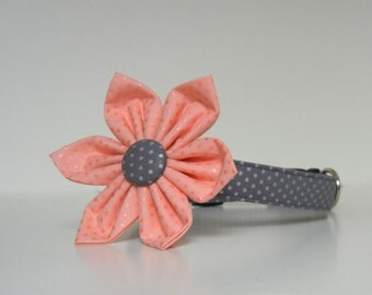 Coral Gray Metallic Silver Polka Dot Dog Flower Collar Wedding Accessories Made to Order