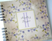 Green and Purple Floral Wire Bound Baby Memory Book Keepsake Album