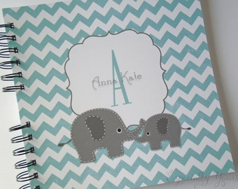 Baby Book |  Baby Memory Album | Elephant Aqua Chevron Personalized Wire Bound Baby Memory Book Keepsake Album