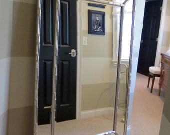 Gigantic Silver Faux Bamboo style Mirror