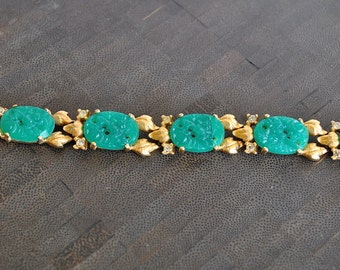 VINTAGE green  jade CARVED gold  BRACELET