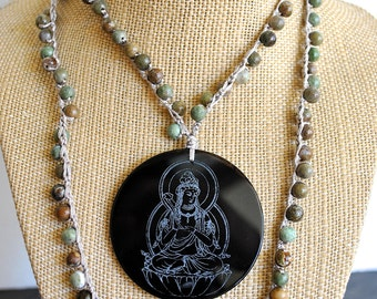 MICROMARE BLACK BUDDHA   jasper  necklace