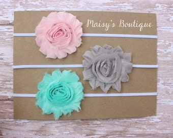 Set of 3- Light Pink, Grey and Seafoam Green Flower Headband Set/ Headband/ Newborn Headband/ Baby Headband/ Wedding/ Photo Prop