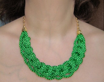 FREE SHIPPING. Bright green  knot necklace. Silk rope.