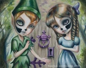 Peter Pan  And Wendy LIMITED EDITION print signed numbered Simona Candini lowbrow big eyes creepy neverland fantasy art illustration skully