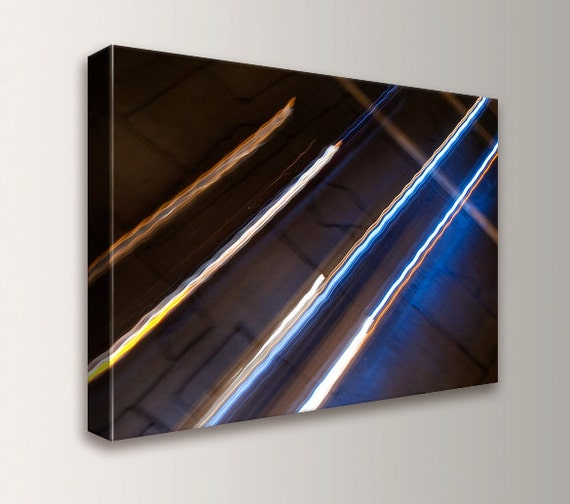 "Modern Canvas Print - Urban Art - Night Photography - Line Art - "" Light Wait """