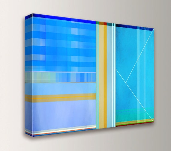 "Art - Canvas Print - Painting - Aqua, Teal, Blue, Yellow - Geometric Art - Abstract Wall Art - "" Daylight """