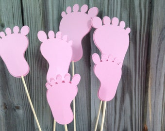 6 Pieces - PINK BABY FEET- Baby Shower/New Baby - Table Decorations/Centerpiece/Diaper Cake Decorations - 3 Sizes to Choose From