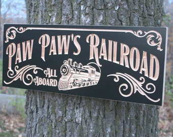 Railroad Sign Anniversary Gift For Men Personalized Man Cave Sign Last Name Sign Personalized Garage Sign Cabin Sign Maple PR