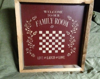 Primitive Distressed Wooden Handmade Sign - Family