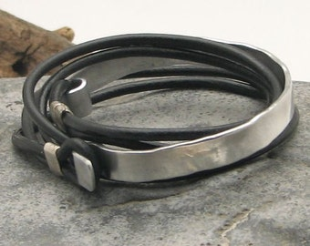 EXPRESS SHIPPING Xmas gift. Men's leather bracelet. Black leather wraped men's bracelet with hammered metal work and silver plated clasp.