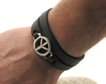 EXPRESS SHIPPING Peace bracelet . Men or women bracelet. Black leather cuff  bracelet with silver plated peace and clasp. Black bracelet.