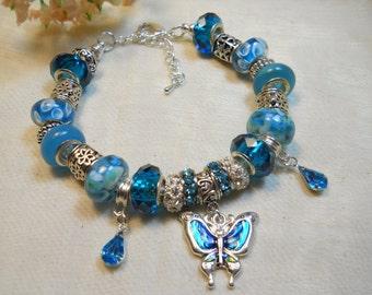 Teal Butterfly Bracelet, Teal Blue Murano Glass Beaded Bracelet, European Style, Ladies Bracelet