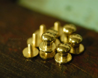 10pcs 8mm Round solid brass ball head Screws for Leather Craft