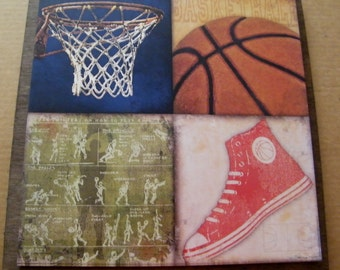 Wood Primitive Basketball Picture Sign