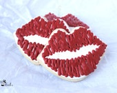 Valentine's Day Kiss Decorated Sugar Cookies, SWAK, Lip cookies, Valentine Cookies, Romantic Cookies, Kiss Cookies, Sweetheart Cookies