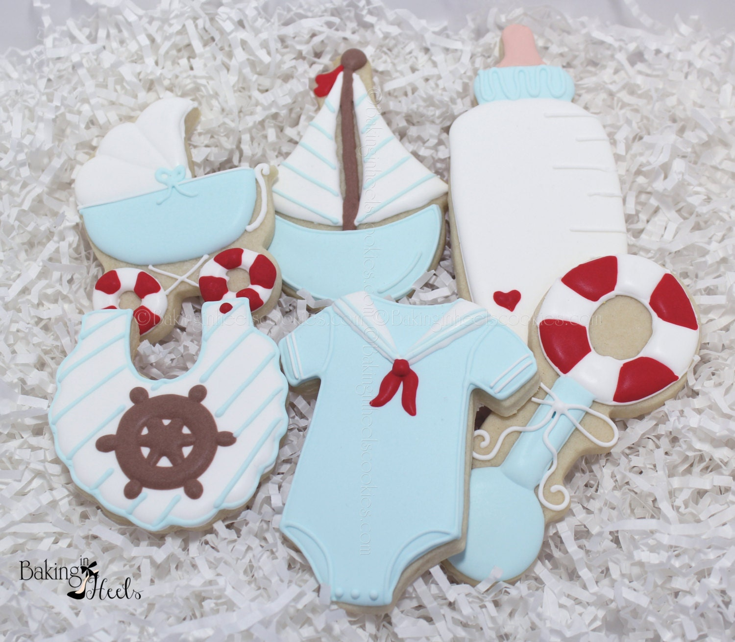 Nautical Baby Shower Decorated Cookies Sailboat Cookies