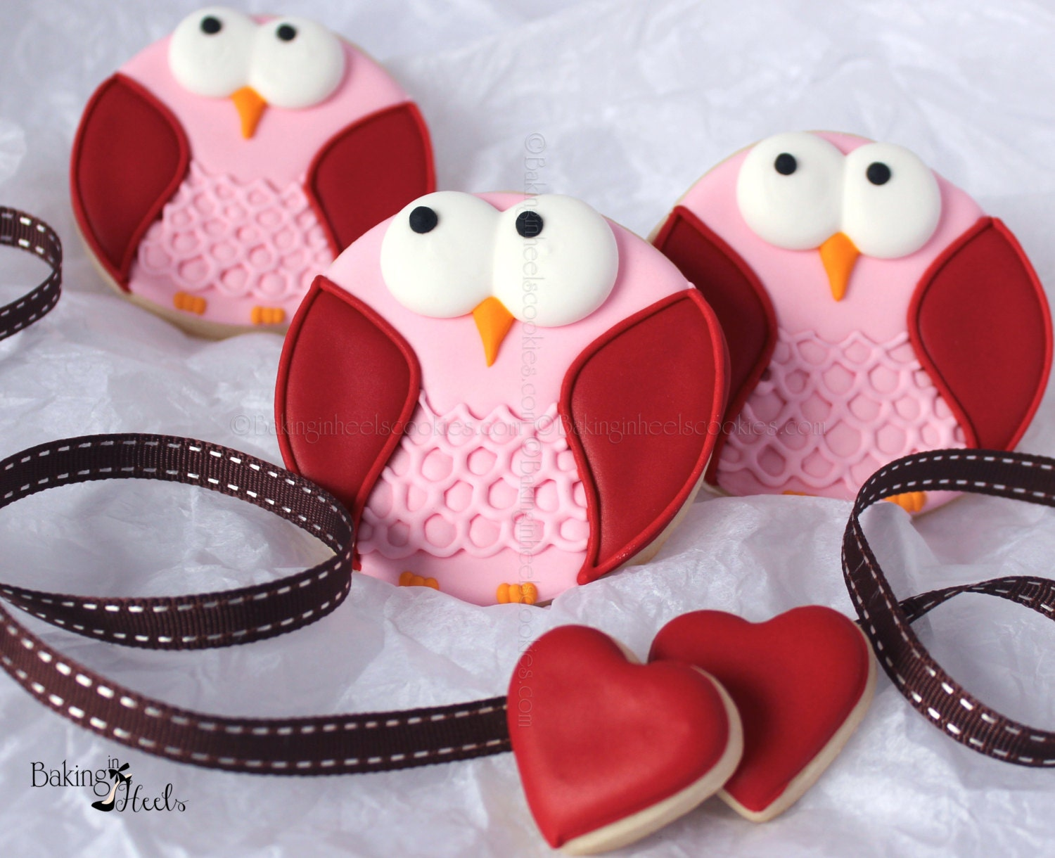 Owl Decorated Cookies Valentine Day Owl Decorated Sugar Cookie Favors
