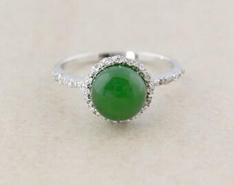 Natural Jade Ring - Halo Setting - 925 Sterling Silver