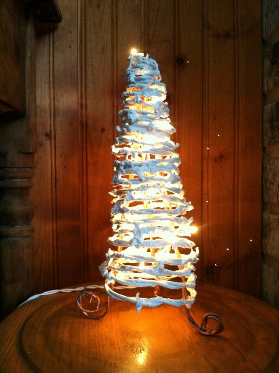 snow white barbed wire lighted christmas tree. Black Bedroom Furniture Sets. Home Design Ideas