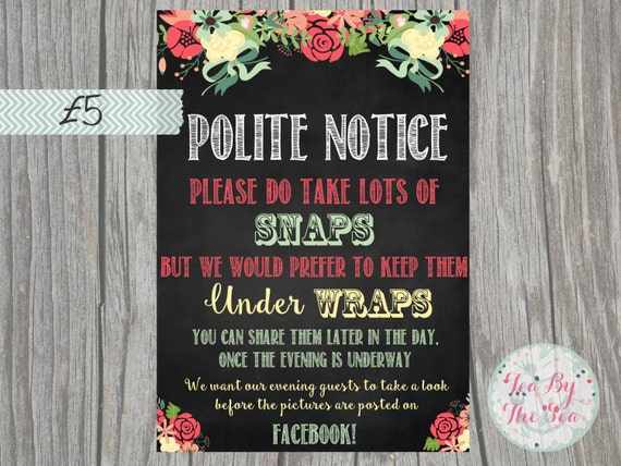 polite notice no photos on facebook sign by sweetpeapaperiex