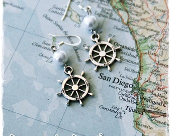 US Navy Anchor ship wheel earrings by Son and Sea FREE US shipping