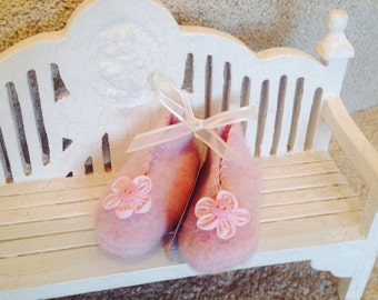 Rose Pink Felted Wool Baby Booties with Ribbon Flower and Button for Trim.