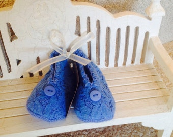 Blue Lace Wool Blend Baby Booties with Button for Trim.