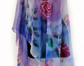 Blue roses/Painted silk scarf/Hand Painted Silk scarf/Woman silk chiffon scarf/Gift/Silk scarf/Blue flowers/Painted flowers/long shawl/S0034