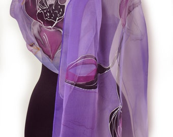 Hand painted silk scarf/Painting by hand violet flower/Floral silk chiffon scarf/Painting by hand flowers/Painting silk scarf/Painting Shawl