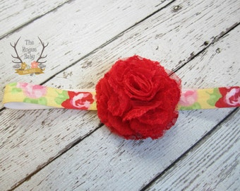 Red Flower Headband for Baby Girl - Lace Tulle Elastic Baby - Yellow Pink Floral Pattern