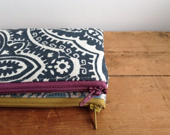 Small Zipper Pouch, Dark Gray Damask Coin Purse, Zipper Coin Pouch