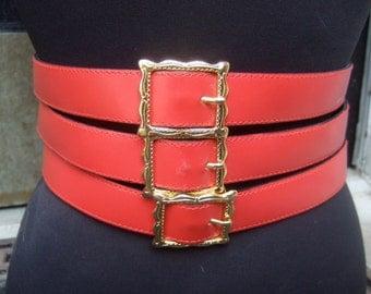 Italian Red Leather Unique Triple Design Belt Size M