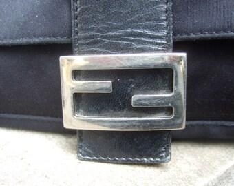 Fendi Classic Black Cloth Leather Trim Handbag (Genuine)
