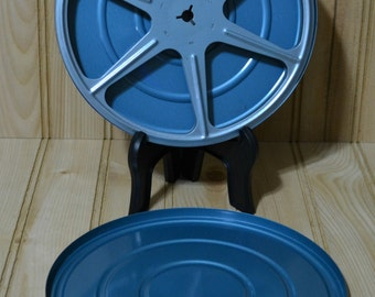 Vintage Movie Film Reel & Case Blue Metal Canister Empty