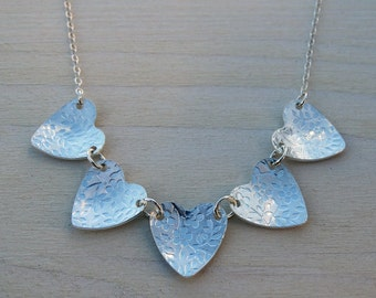 Sterling Silver Heart Bunting Necklace