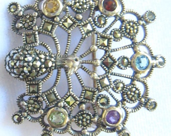 SALE Sterling & Marcasite Peacock Vintage Brooch.  5 Different Colored Semi Precious Stones.