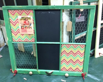 Reclaimed Old Window - Shabby Chic Green Frame - 31x36 - Red & Lime Green Chevron Burlap Cork Board- Chicken Wire memo Board - Chalkboard