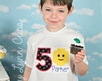 Lego Man Personalized Birthday Embroidered Shirt or Bodysuit