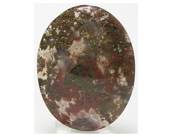 Green and Red Moss Agate Mineral Plumes in Clear Gem Agate Semiprecious Stone Oval Flat Back Cabochon