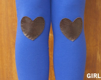 SALE - GIRLS SIZE - My Leather Heart Royal Leggings // size small