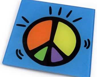 Peace Tempered Glass Trivet/Hot Plate