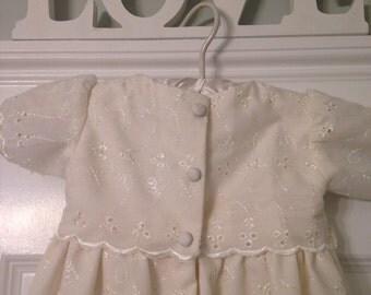 Light Cream Eyelet Christening Gown