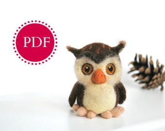 PDF Needle felting tutorial needle felted owl rustic fall decor wool toy felted bird Digital Tutorial needle felted pattern