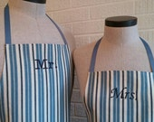 Blue Stripe Mr & Mrs Apron Set with Pocket FREE SHIPPING - Husband and Wife, Blue, Navy and Cream Stripe, Wedding Shower Gift, Made USA