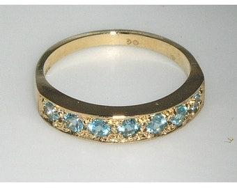 14K Yellow Gold Natural Blue Topaz 7 Stone Half Eternity Ring, English Classic Design Anniversary Ring, November birthstone -Customizable