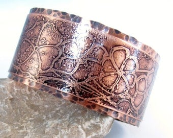 copper cuff etched flowers and butterfly