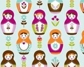 1 Yard Fabric Little Matryoshka Doll Cotton Fabric - MAIN Aqua- One Yard